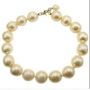 Chanel Baroque Glass Pearl Choker Necklace VTG